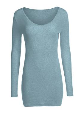 Das lange, schmale Rippenstrick-Shirt mit V-Ausschnitt kann je nach Wunsch lang als Tunika oder auch geknautscht getragen werden. Gestrickt aus weicher, fester Pimabaumwolle (98 %) mit Lycra® (2 %).