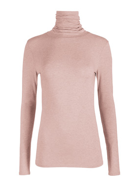Our bestselling stretch t-neck in pima (96%) and Lycra® (4%) jersey has a scrunchable neck and body-hugging fit.