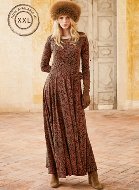 18th century German botanicals pattern our dramatic jersey maxi-dress in rich hues of gold and taupe on a dappled madder ground. Fits through the bodice, and flares from the waist seam to a full, twirlable hem. Pima (51%) and modal (49%).