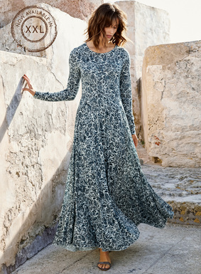 Interpreted arabesque florals from a vintage rug are printed in indigo on the soft grey ground of our romantic pima (51%) and modal (49%) jersey maxi-dress. Shaped to fit and flatter through the bodice and sleeves, it flares dramatically from the waist seam to a twirlable, ankle-length hem.