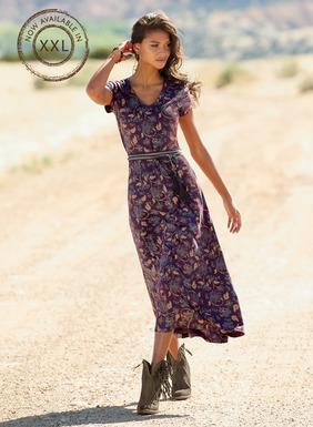 The perfect summer-to-autumn piece, our t-shirt dress in fluid pima (51%) and modal (49%) jersey is abloom in dusty blue and amber chintz florals on a rich aubergine ground. The fitted bodice gives way to a sweeping A-line hem; pockets.