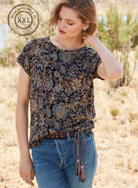 A pretty French floral twines across the relaxed pima tee. Drop shoulders; turn-back cuffs; side vents.