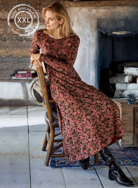 Flowering vines inspired by an antique Chinese vase climb the weathered, dusty rose ground of one of our bestselling silhouettes. Sewn of cotton (96%) and Lycra (4%) jersey, the flattering, fit-and-flare dress has a curved hem that dips longer in back.