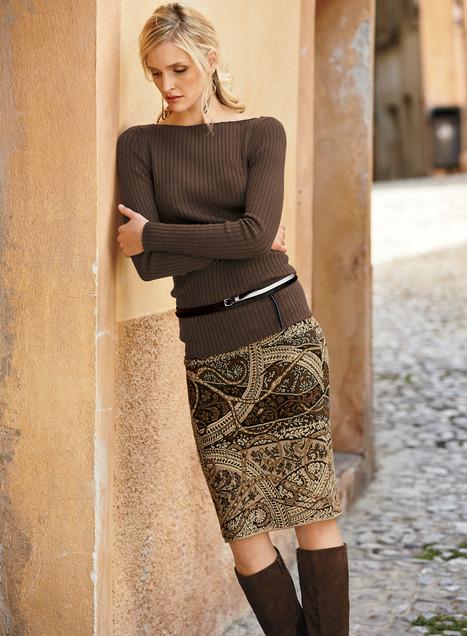 pima paisley pencil skirt