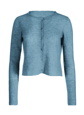 In cloud-soft baby alpaca (60%), nylon (35%) and merino wool (5%), the cropped cardigan has an adorable boxy shape that floats away from the body. Full-fashion knit with a crewneck, exaggerated ribbed cuffs and rolled edges.