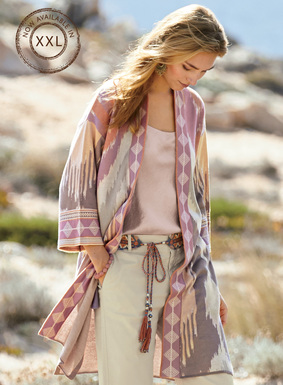 Pastel ikat patterning-inspired by a handwoven Indonesian textile-is knit into our stunning pima jacquard kimono. Twilight hues of lilac, blush, pink, grey and cream are framed in a contrast border at the buttonless placket and wide ¾-sleeves. The roomy silhouette has drop shoulders, pockets and deep side vents.