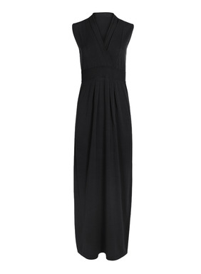 A top selling silhouette brought back. In Peruvian pima, this gorgeous, fine gauge knit dress is instant glamour. A fully-fashioned crossover v-neck and high ribbed waist shape the fitted bodice and give way to gentle pleats that fall to a graceful ankle-length hem.