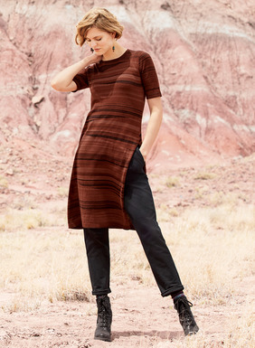 In sun-baked hues of rust, burnt sienna, chocolate and black, our tunic is inspired by the striations of traditional woven basketry. Full-fashion knit of light-weight pima with a crewneck and single deep side slit, no two are exactly  alike.