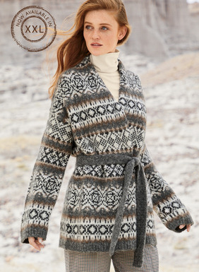Après-skiwear has never been more sumptuous. Our wrap cardigan is banded in Scandinavian motifs in a palette of wintry neutrals. Downy soft in baby alpaca (70%), polyamide (23%) and merino wool (7%), with a high-backed rolled collar, drop shoulders, buttonless placket and self-belt.