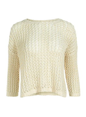 The boxy pullover is knit in an airy tuckstitch netting of pima cotton. Drop shoulders; bracelet-length sleeves; ribbed trim; side slits.