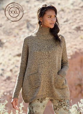 Knit of tweeded pima yarns, this oversized, contemporary pullover is styled with exaggerated drop shoulders and ribbed trim at the t-neck, slim sleeves, patch pockets and hem.