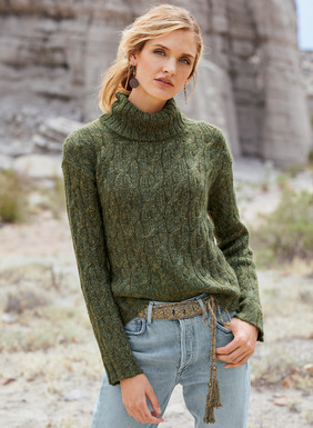 In a gold-flecked Olive tweed, the soft, cableknit pullover has a chunky ribbed cowlneck and relaxed rib knit trim. Knit of pima (60%), baby alpaca (24%), nylon (14%) and wool (2%).