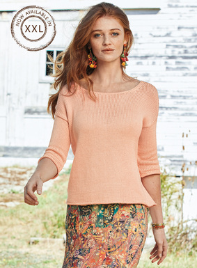 A warm-weather version of a perennial favorite, our pullover is full-fashion knit of glossy mercerized pima. A go-to top over everything from jeans to skirts, with an open neckline, drop shoulders, ¾-sleeves and rolled-edge trim.