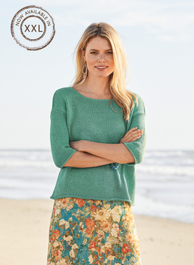 A warm-weather take on our perennial-favorite pullover is full-fashion knit of tweeded mercerized pima yarns. Open neckline; drop shoulders; elbow-sleeves; rolled-edge trim.