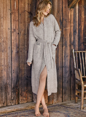 Fabulous for a gift (or wish list), our bestselling robe is knit in a lofty, donegal tweed of wool (60%) and premium royal alpaca (40%). Detailed with a snuggly shawl collar, pockets, side slits and self belt.