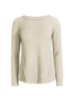 A contemporary version of the classic Irish fisherman sweater, knit in a sculptural basketweave of light, frothy, incredibly soft baby alpaca. Raglan sleeves; dimensional angled seaming.