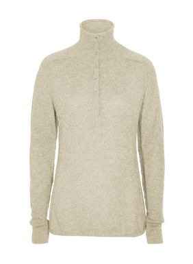Our bestselling pullover in woolen-spun baby alpaca royal, the finest grade of alpaca. Unbelievably light and lofty, these luxe, versatile henleys are full-fashion knit with a convertible mock neck, deep ribbed cuffs and contemporary exposed seams.