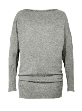 An ultra-chic essential, the tunic is knit of sublimely soft, woolen-spun royal alpaca. Rolled neck; drop shoulders; dolman sleeves. Extra-long rib knit trim at the cuffs and hem create a soft blouson shape.