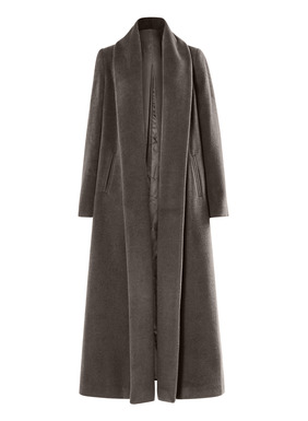 Effortlessly elegant, a statement coat with a lifetime of appeal. Styled with an ankle-grazing sweep, deep inverted back pleat, ample pockets and a glamorous, full-length, buttonless shawl collar. Tailored in a velvety plush pile of baby alpaca (72%), wool (26%) and nylon (2%); fully lined.