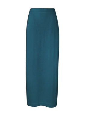 A portrait of minimalist luxe, full-fashion knit of cloud soft pima (60%) and modal (40%). The column skirt features a wide waistband, deep pockets and sultry side slits.