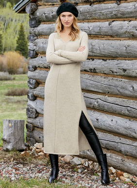 Knit of luxurious, woolen-spun royal alpaca, our ultra-soft sweater-dress is the epitome of snuggly chic. Styled with a deep v-neck, dimensional center seams, side slits and ribbed trim.
