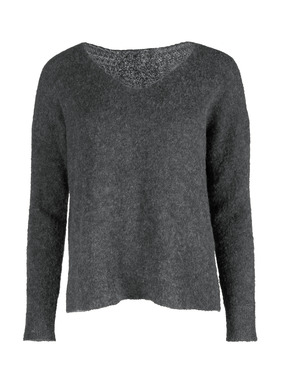 The boxy, v-neck sweater is knit of frothy, whisper-light alpaca (81%) and nylon (19%) bouclé yarns. With drop shoulders, side vents and ribbed trim.