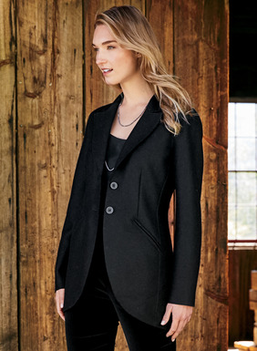 Classic tuxedo jacket styling is beautifully reimagined in felted alpaca (60%) and wool (40%). Flawlessly tailored with a high notched collar, shapely seaming, angled welt pockets, back vent and a curved cutaway hem; unlined.