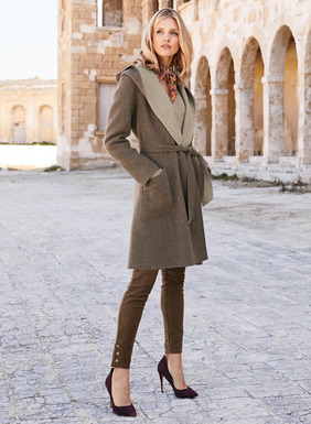 Our double-faced coat in plush baby alpaca (66%) and Tencel® (34%) reverses from Java to Linen. Buttonless wrap front; ample hood; self-belt.