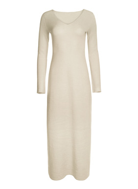 The essence of simplicity, the maxi-dress is jersey knit of luxurious baby alpaca (35%) and silk (15%) on the outside and ultra-soft pima (50%) next to the skin. Spare and chic, it's minimally styled with a v-neck and ankle-grazing hem.