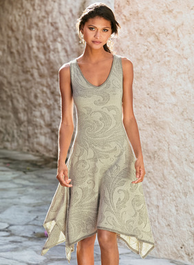 Baroque acanthus leaves trace the fit-and-flare sundress in palest grey and cream. Jacquard knit of textural pima (90%) and polyester (10%), and detailed with a deep v-neck and flowing handkerchief hem.