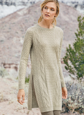 An age old Aran cableknit sweater, recast in a modern shape. Knit of blissfully soft, woolen-spun royal alpaca, it's styled with a crewneck, saddle seam armholes, deep side vents, and ribbed trim.