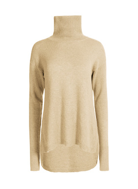 An elevated essential, our t-neck is divinely soft and luxurious in woolen-spun royal alpaca. Knit easy, with drop shoulders, slim sleeves with thumbholes and a side-slit hem that steps longer in back.