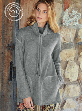 Chic, downtime luxury, our roomy tunic is exceptionally soft and light as a cloud in primo-grade, woolen-spun royal alpaca. Sporty detailing includes a drawstring cowlneck, drop shoulders and overlock stitching; pockets.