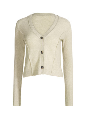 Dimensional seaming and a body-skimming shape add femininity to the cropped cardigan. Knit of primo, woolen-spun royal alpaca, with a v-neck and ribbed trim.