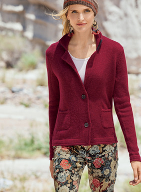 Blurring the line between cardigan and jacket in softest baby alpaca, this polished, versatile piece is styled with  a notched collar and petite patch pockets.