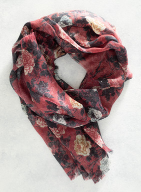 This long and luxurious floral scarf features a decadent blend of baby alpaca (70%) and silk (30%) that you have to feel to believe. The print is inspired by roses from an antique Chinese painted textile. We're so smitten with this scarf that we've created it in three colors: Marigold, Silver Sage, and Ruby, all of which are finished with delicately frayed edges.