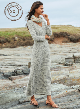 A portrait of minimalist chic, the maxi-dress is knit in striations of tweeded silver and dove grey pima. Simply styled with a sultry wide v-neck, bracelet-length sleeves and an ankle-grazing, A-line hem.