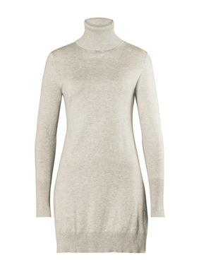 The must-have pima tunic is full-fashion knit with a generous ribbed t-neck, long ribbed cuffs and deep side slits.