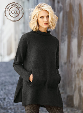 The sweater you can't live without is casually chic over leggings or jeans. Knit of luxe, brushed alpaca (81%) and polyamide (19%) yarns, with a cozy funnel neck, drop shoulders, kangaroo pouch and side slits.