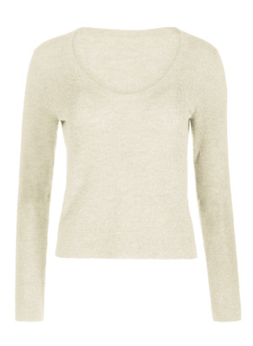 Light as a whisper in frothy, lightweight yarns of baby alpaca (60%), polyamide (35%) and wool (5%), the pullover is full-fashion knit with a deep v-neck and exaggerated ribbed cuffs with thumbholes.  It pairs beautifully with everything from jeans to dresses.