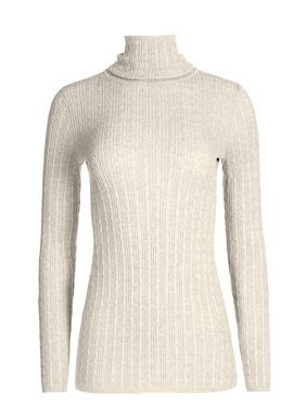 Ein elegantes Basic: Der weiche Pimabaumwoll-Rollkragenpullover ist in Rippen und Zöpfen fully-fashioned gestrickt.