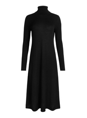 Spare and sophisticated, our fit-and-flare dress is a double-faced knit of silk (27%) and wool (27%) on the outside and cloud-soft pima (46%) on the inside. Segueing seamlessly from day to night with a quick change of accessories, it's fine gauge, full-fashion knit with a t-neck and ribbed trim.