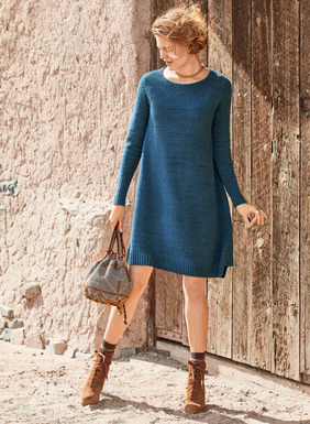 Sweater-dressing for the changing seasons. Based on our bestselling sweater, the tunic-dress features flaring side panels for an easy, flyaway shape. Knit of plush pima (88%) and nylon (12%) bouclé yarns and minimally detailed with slim sleeves, chunky ribbed trim and a notched hem.