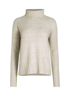 The coziest pullover of the season is knit of soft, midweight pima (88%) and nylon (12%) bouclé yarns, with a relaxed ribbed t-neck, drop shoulders and chunky ribbed trim.