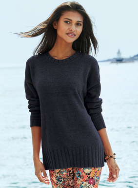 Just the thing for breezy, not-quite-sweater days, our crewneck is knit of velvety soft and frothy pima (88%) and nylon (12%) bouclé yarns. Drop shoulders; relaxed rib trim; side slits.