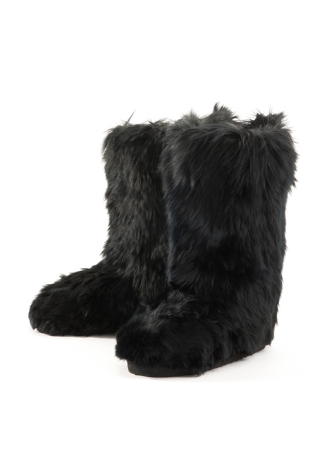 SNOWY WHITE /& JET BLACK 2 sizes available PERUVIAN ALPACA FUR SLIPPERS