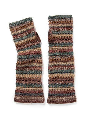 The handcrocheted fingerless gloves are baby alpaca (49%), cotton (36%) and wool (15%).