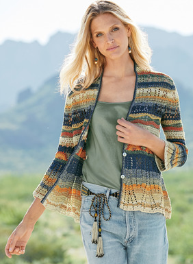 A work of wearable art, the handframed and handcrocheted pima cardigan is a seascape of waves and stripes in hues of sand, denim and sun yellow. Crafted in a mix of intricate openwork stitches, with belled, ¾-sleeves and a scalloped peplum hem.