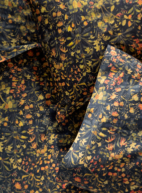 Echoing the elaborate beauty of a Renaissance tapestry, our sheet set is landscaped with hand-painted botanicals in olive, sage, gold and persimmon on navy. Woven of buttery soft, 200-thread-count cotton sateen, the sheet set includes a flat sheet, fitted sheet and two pillowcases (standard cases for Queen set; king cases for King and California King sets).