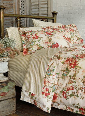 Hand-painted florals from an 18th century Japanese silk scroll are gorgeously reinterpreted on our ivory duvet cover and sham in fresh shades of rose, blush, dusty blue and green. Woven of 200-thread-count cotton sateen for a silky hand, with mother-of-pearl closures. Duvet cover set includes a duvet cover and two shams (standard shams for Full/Queen set; king shams for King set).